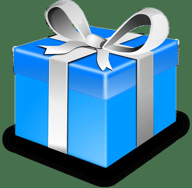 Cadeau bleu à ruban blanc